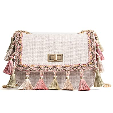 Sunshinejourney Boho Fringe Crossbody Bag Women Mini Chain Shoulder ... 0e0f361a7e370