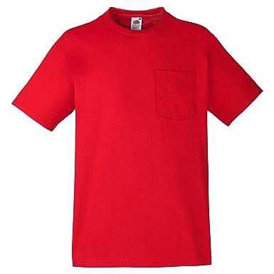 81b816445662 Fruit of the Loom Mens Heavy Weight Pocket Short Sleeve T-Shirt: Amazon.co. uk: Clothing