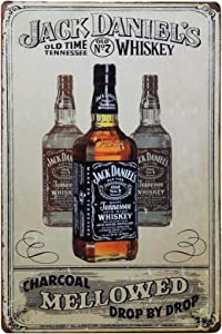 TISOSO Jack Daniels Vintage Style Plaque Metal Tin Sign Poster Plate Whiskey Wall Decor Home Gift 12 X 8