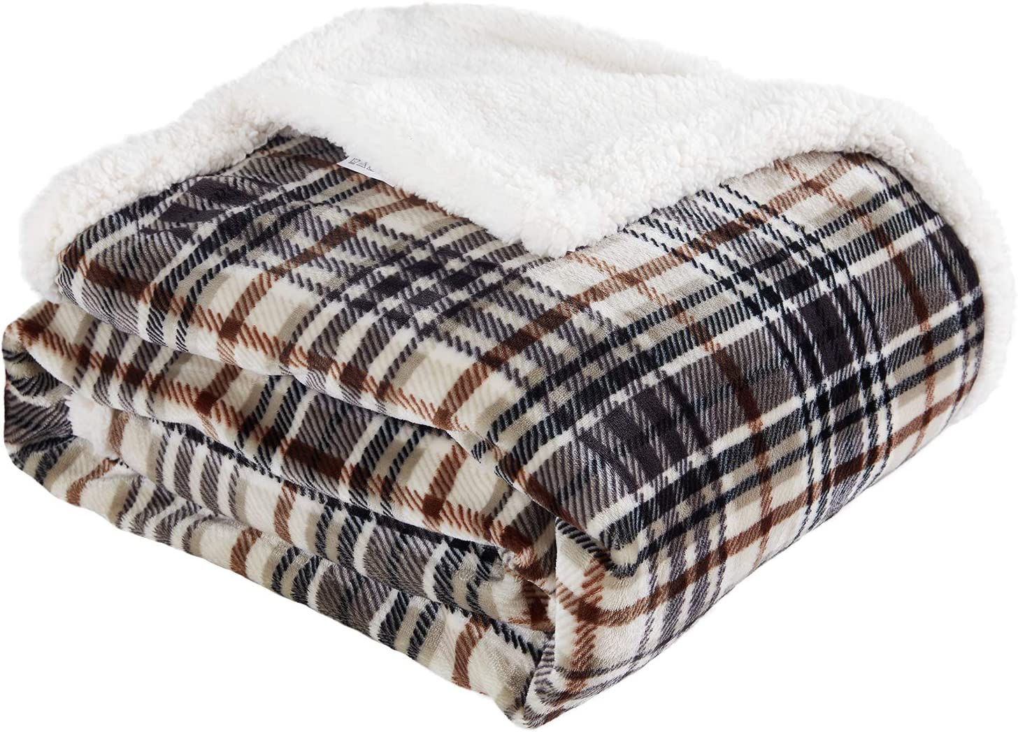 """Touchat Sherpa Plaid Throw Blanket, Fuzzy Fluffy Cozy Soft Blanket, Fleece Flannel Plush Twin Size Microfiber Blanket for Couch Bed Sofa (60"""" X 70"""", Plaid Brown): Home & Kitchen"""