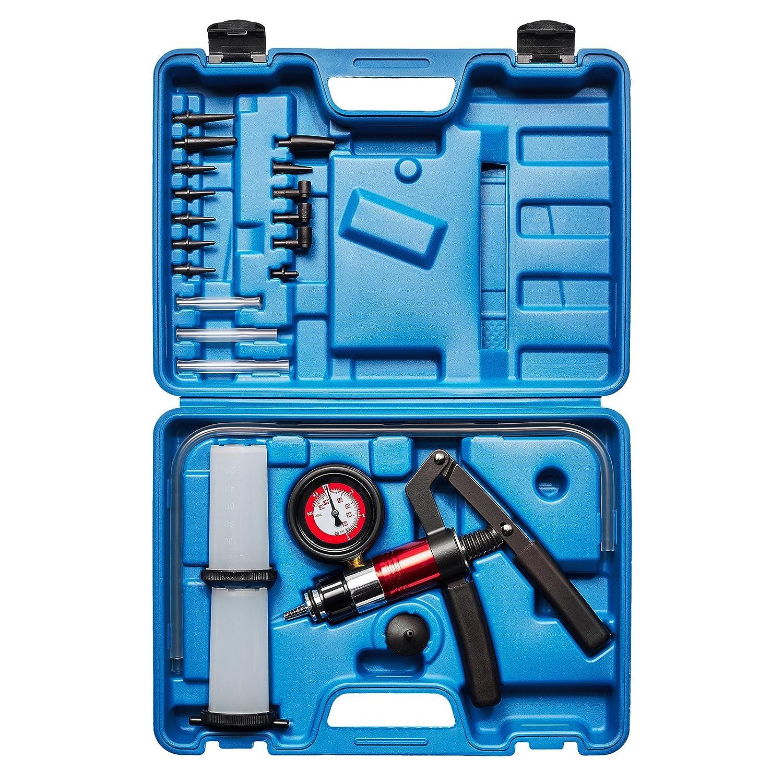 KRAFTPLUS® K.211-7030 Serie di pompa vuoto con manometro spurgo dei freni pressione depressione - 22 Pezzi KRAFTPLUS®