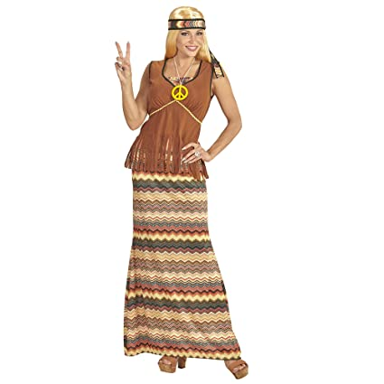 WIDMANN ? Disfraz Adulto Hippie para Mujer, Vestido con Chaleco ...