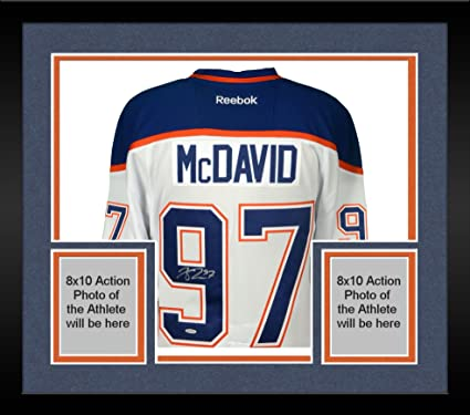 Image Unavailable. Image not available for. Color  Framed Connor McDavid Edmonton  Oilers Autographed White Reebok EDGE Jersey ... a35711fe6