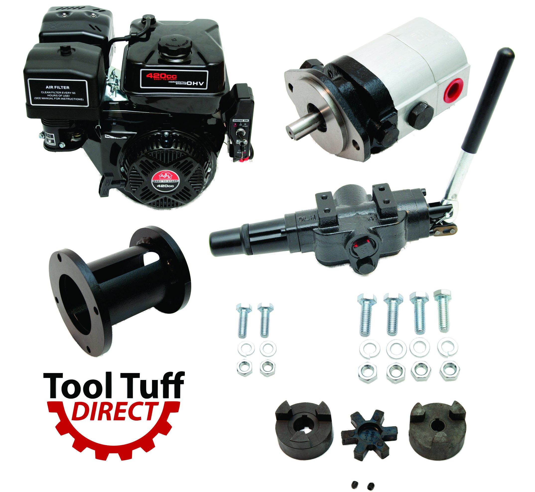 Tool Tuff Log Splitter Build Kit - 15 hp Electric-Start Engine, 28 GPM Pump, Auto-Return Valve, Coupler & Hardware