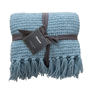 PERSUN Lightweight Throw Blanket Soft Plush Microfiber Sofa Couch Knit Blankets with Fringe