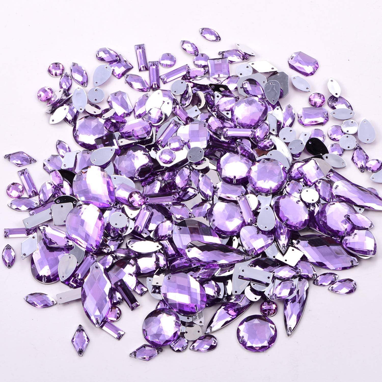BLINGINBOX 300 piezas por paquete de cristales acrílicos para coser en diamantes de imitación, varios colores Tanzanita.