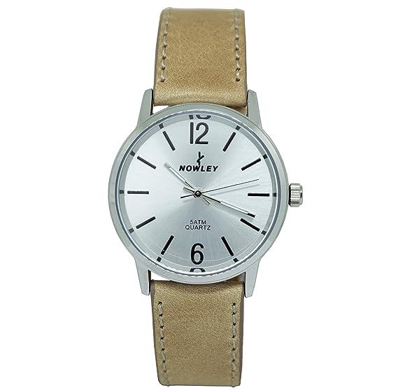 Reloj analógico mujer marca Nowley, con correa cuero beige, esfera en gris metalizado y