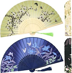 OMyTea Folding Hand Fans for Women - Chinese Japanese Vintage Bamboo Silk Fans - for Hot Flash, EDM, Music Festival, Party, Dance, Performance, Decoration, Wedding, Gift (Blue Lily & Green Sakura)