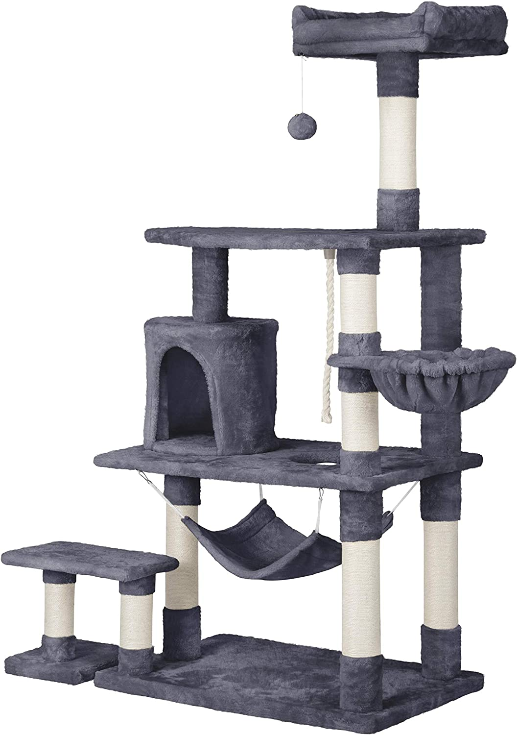 YAHEETECH 61.5in Multi-Level Cat Tree Cat Tower w/Condo Scratching Posts Removable Platform & Hammock, Cat Stand House Furniture Activity Tower for Kittens, Cats, and Pets