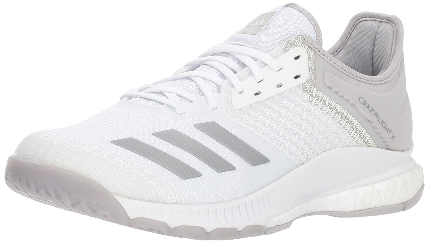 adidas Women's Crazyflight X 2 Volleyball Shoe B077X4PR38 13 B(M) US|White/Silver Metallic/Grey