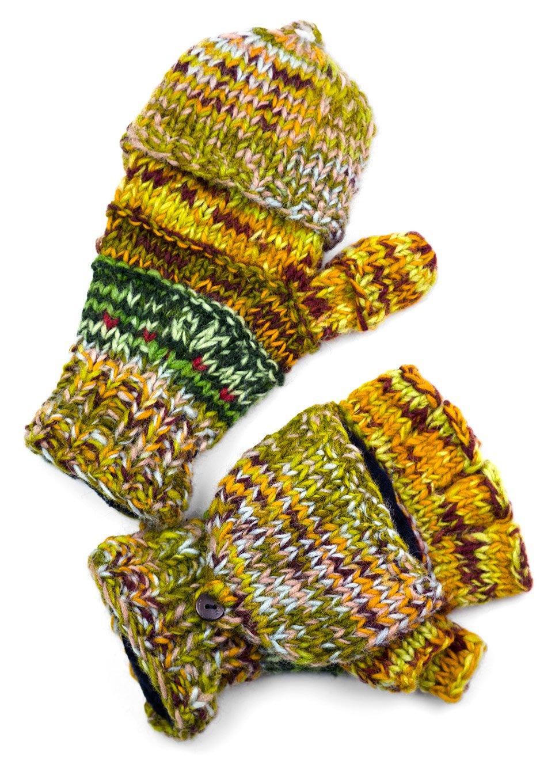 TCG Men's Hand Knit Wool Striped Glittens - Multi-Earthy Colors