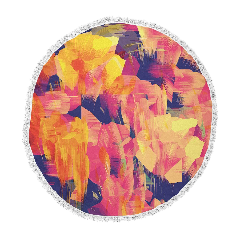 Kess InHouse Kathryn Pledger Geo Flower Orange Yellow Abstract Round Beach Towel Blanket
