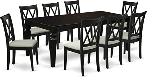 LGCL9-BLK-C 9Pc Dining Set Includes a Rectangle Dining Table with Butterfly Leaf and Eight Double X Back Microfiber Seat Kitchen Chairs, Black Finish