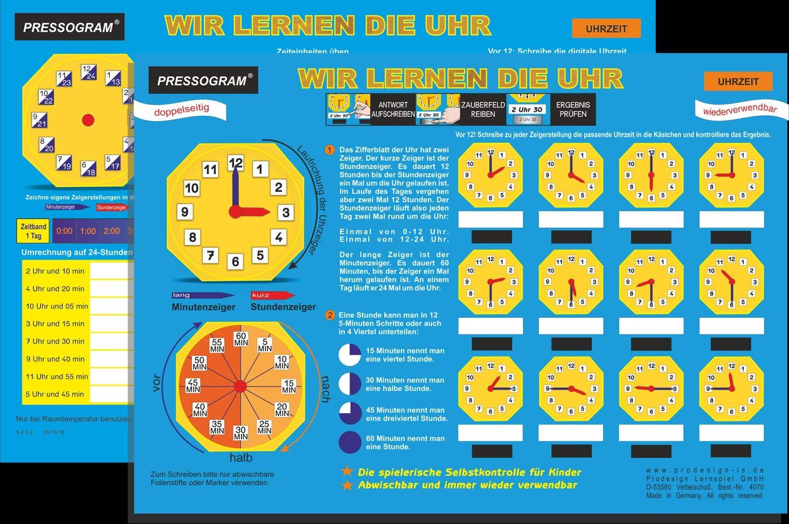 PRESSOGRAM Zaubertafel   Wir Lernen Die Uhr