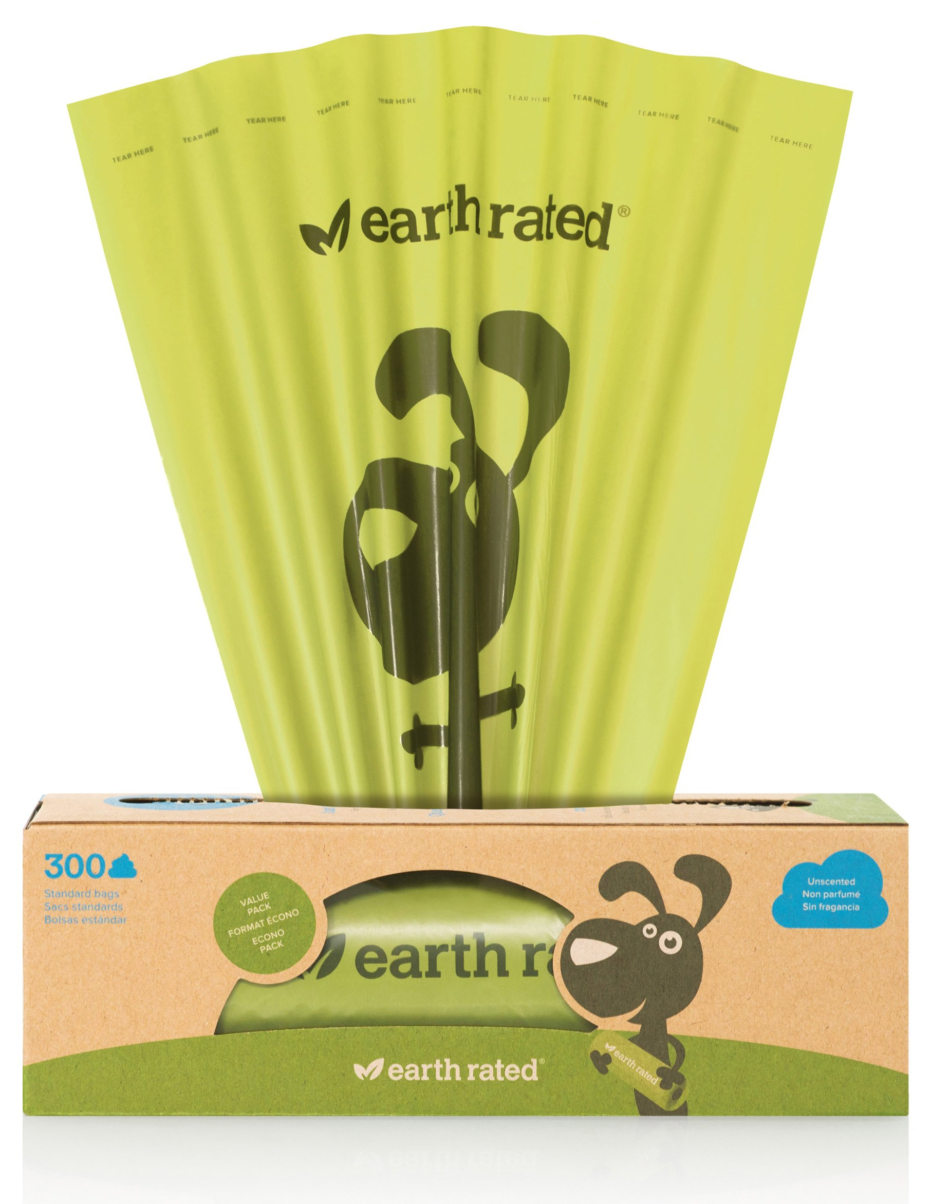 300-Count Earth Rated® Unscented Dog Waste Bags on a Single Roll for Pantries and Outdoor Waste Stations (not on small rolls)