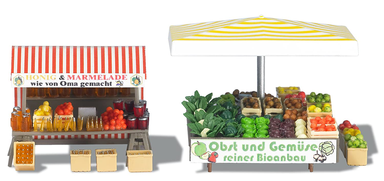 Busch 1071 - Puesto de mercadillo de frutas y verduras [Importado de Alemania]: Amazon.es: Juguetes y juegos