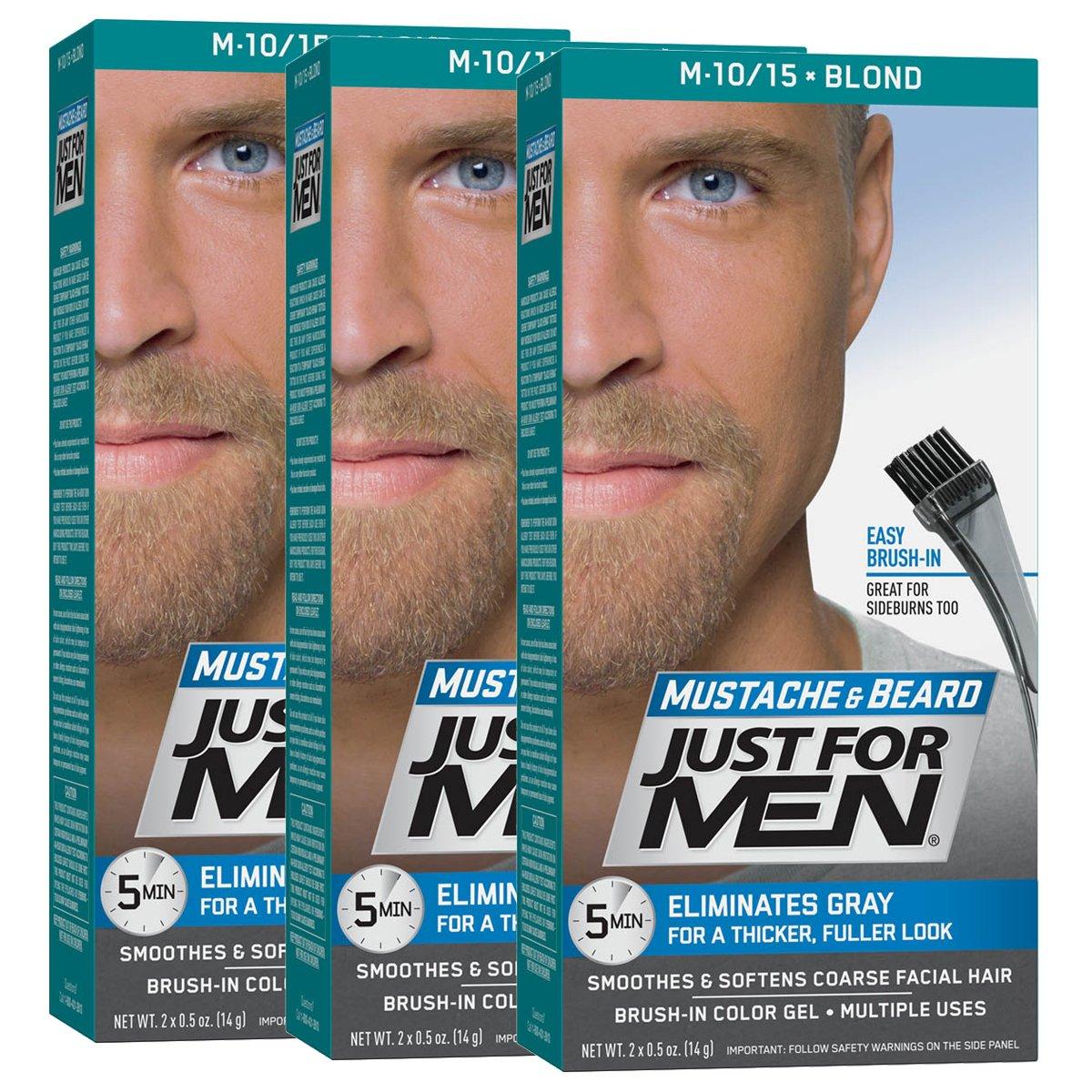 JUST FOR MEN Mustache & Beard Brush-In Color Gel, Blond M-10/15 1 Each (Pack of 3) 011509049001