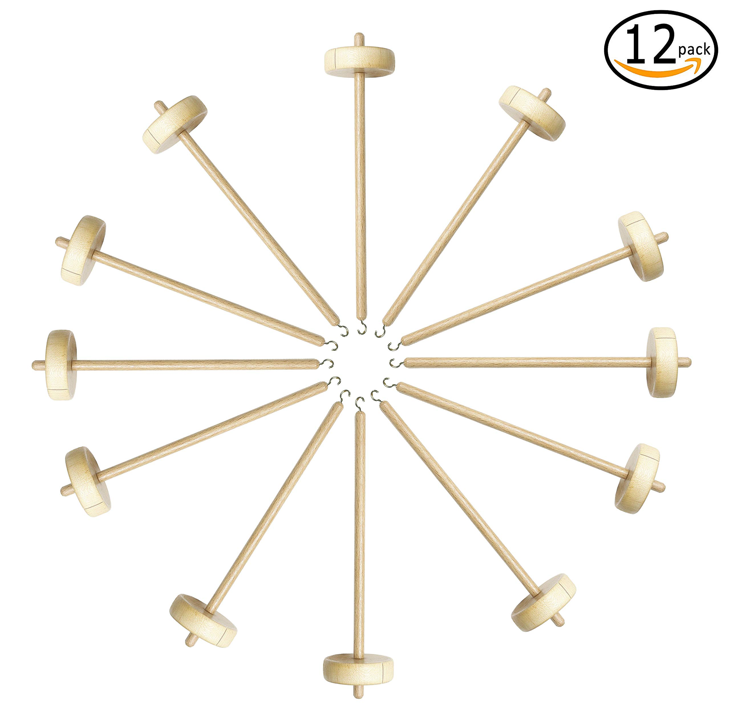 Happy Classy Drop Spindle Maple Spinning 10'' Bottom Whorl 12 Pack