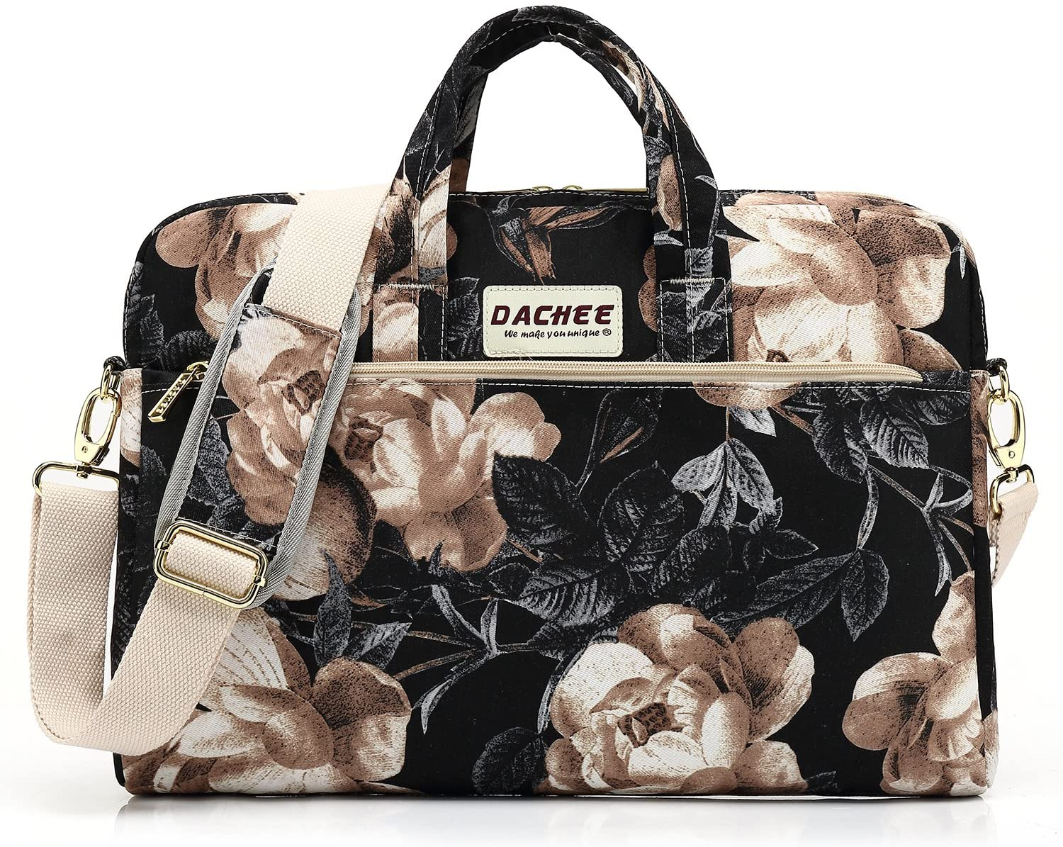 DACHEE Beige Rose Pattern 15 inch Waterproof Laptop Shoulder Messenger Bag for 14 Inch to15.6 inch Laptop and Macbook Pro 15 laptop Case