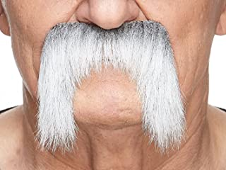 Mustaches Fake Mustache, Self Adhesive, Novelty, Winnfield False Facial Hair, Gray with White Colors