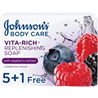 JOHNSON'S Body Soap - Vita-Rich, Replenishing Raspberry Extract, 125g, Pack of 6