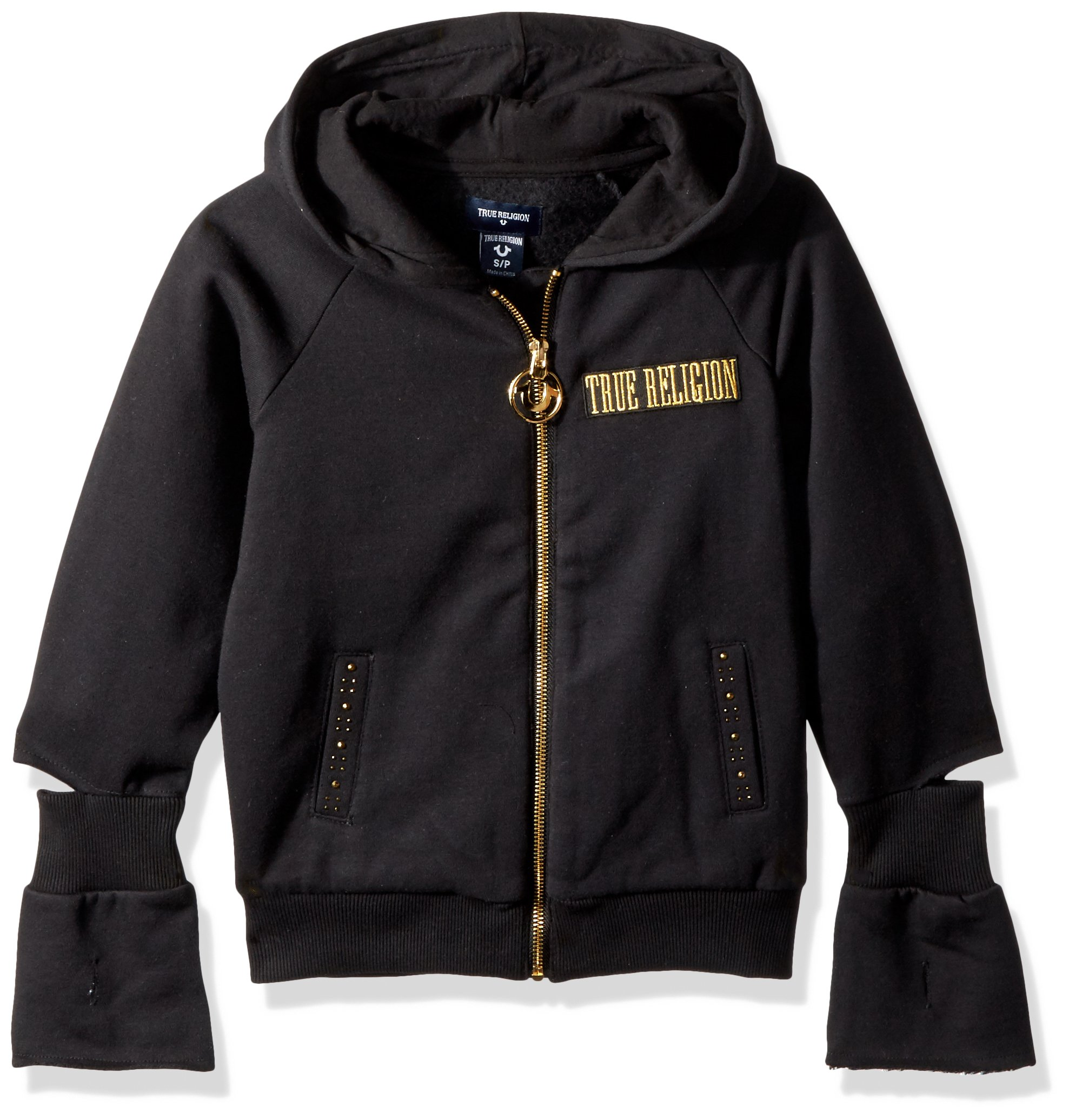 True Religion Girls' Logo Hoodie, Black,  L