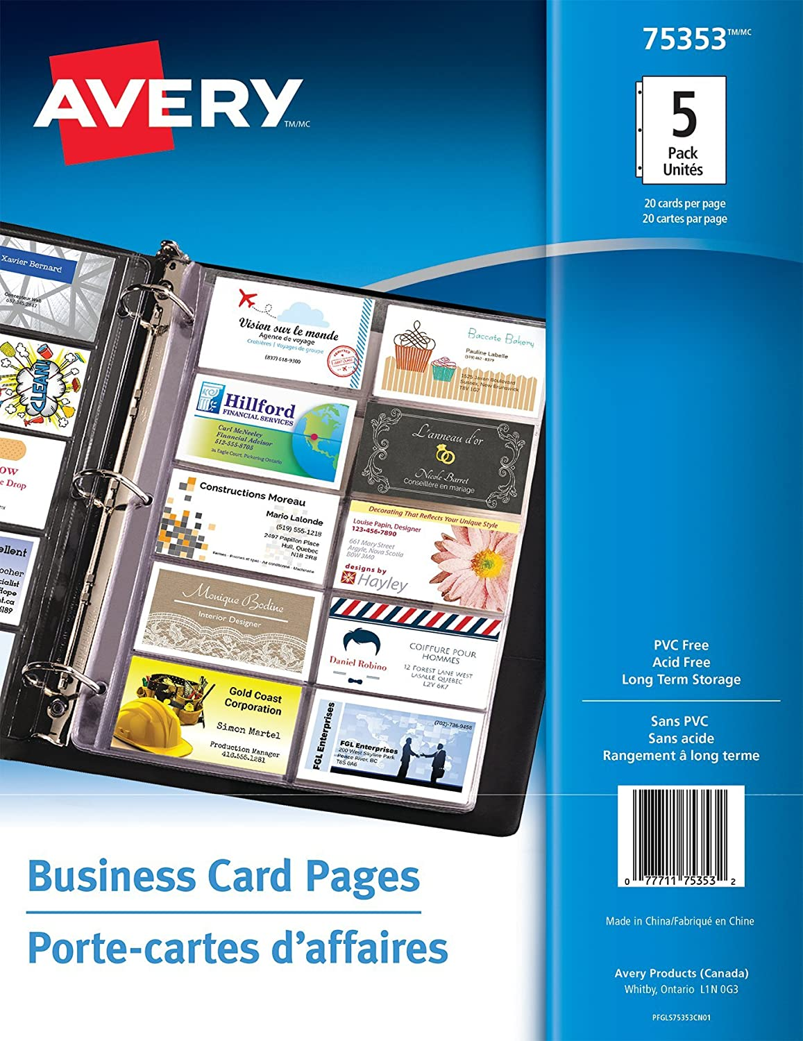 Avery Business Card Pages, Clear, Fits 2.5 x 3 Cards, 5 Sheets (75353) 77711753532