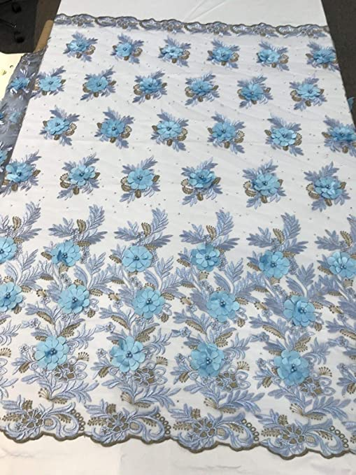 BY THE YARD  MESH BABY BLUE EMBROIDERED METALLIC DESIGN w//DOUBLE SCALLOPS DESIGN