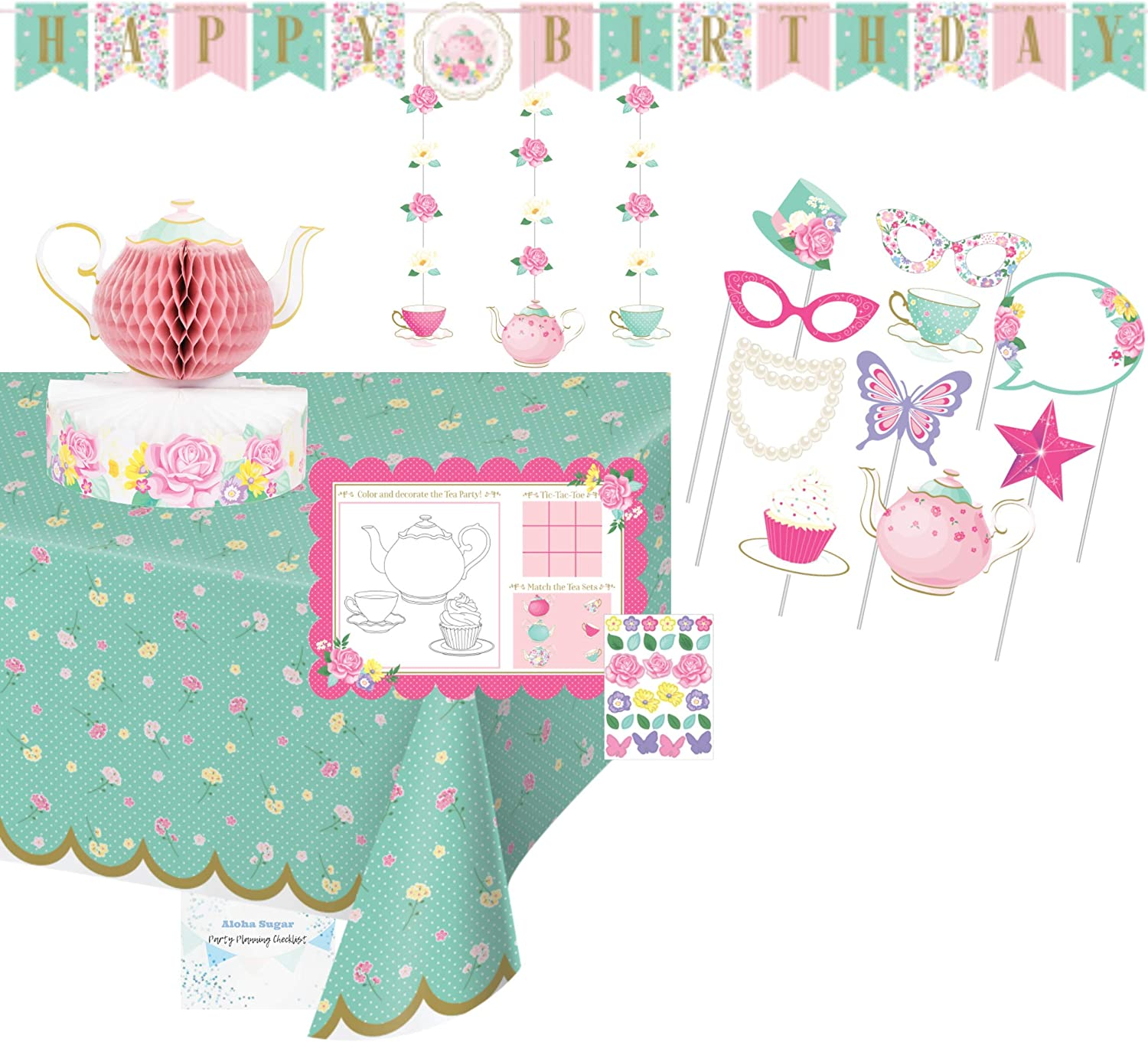 Floral Tea Party Supplies and Decorations - Includes Tea Party Birthday Banner, Hanging Decorations and Photo Booth Props - Tablecloth, Centerpiece and Activity Placemats - Perfect Floral Tea Party Birthday Decorations!