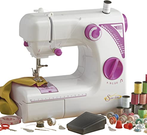 Sew Lite máquina de coser con pedal fácil de usar, compacto y portátil, en color blanco/Morado.: Amazon.es: Hogar