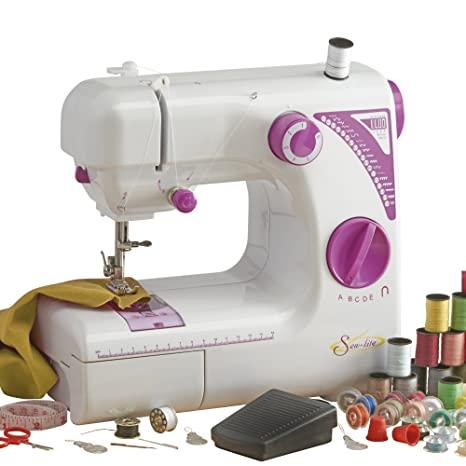 74cef512b7a Sew-Lite Portable Sewing Machine Adjustable Speed Automatic Threading with  LED Light   19 Stitch Patterns  Amazon.co.uk  Kitchen   Home