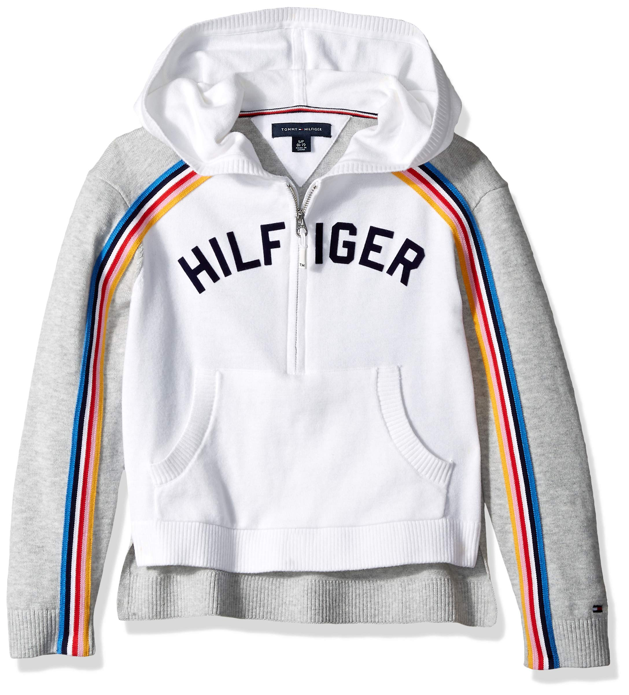 Tommy Hilfiger Girls' Adaptive Hoooed Sweater with Extended Zipper Pull, Heather/Multi XL