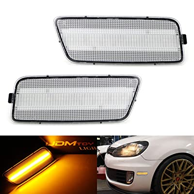 iJDMTOY Clear Lens Amber Full LED Bumper Side Marker Light Kit Compatible With 2009-2014 Volkswagen MK6 Golf/GTI, Powered by 40-SMD LED, Replace OEM Front Sidemarker Lamps: Automotive