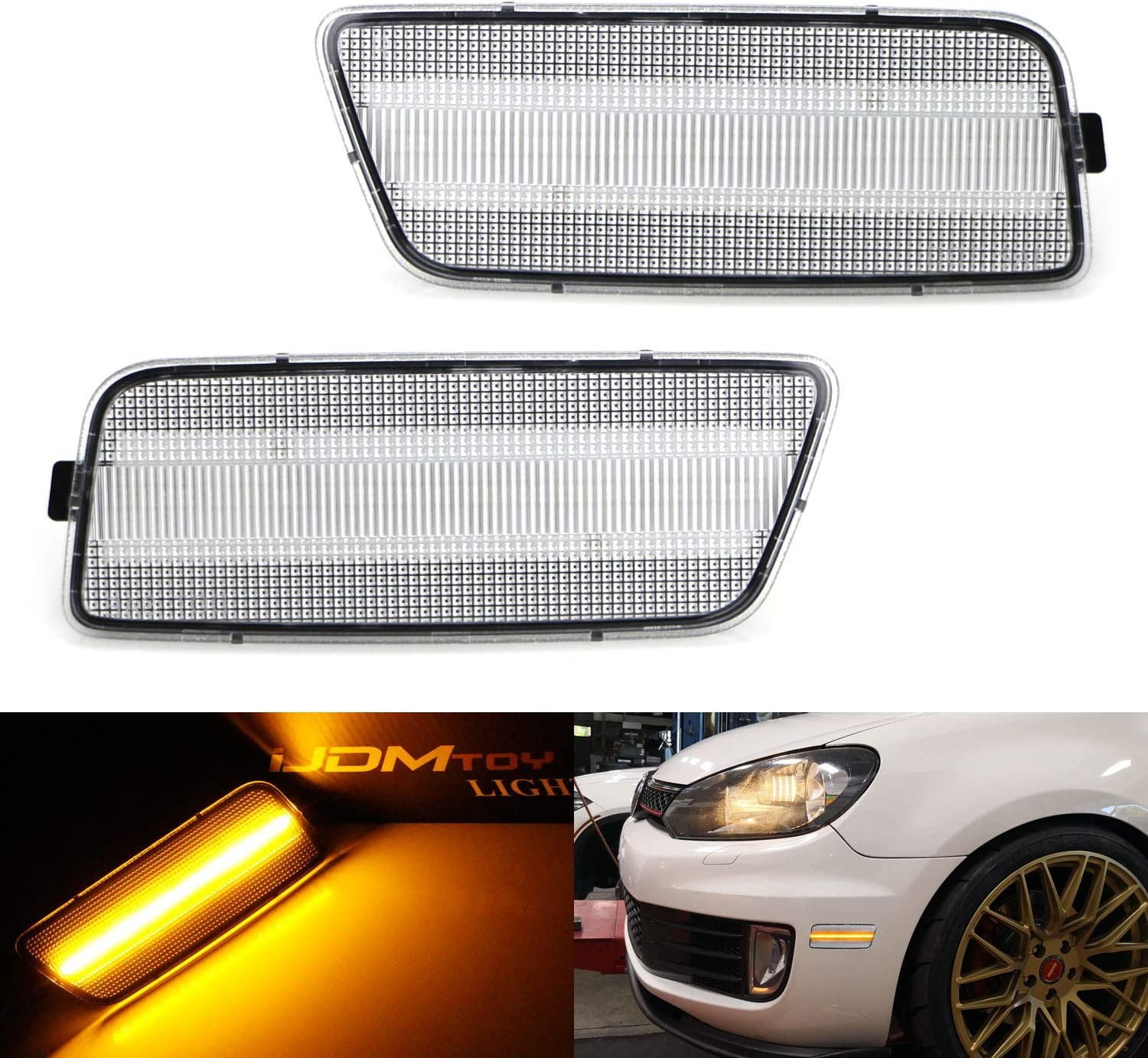 2008 R32 2005-2010 Jetta 40-SMD LED Replace OEM Front Sidemarker Lamps iJDMTOY Clear Lens Amber Full LED Bumper Side Marker Light Kit Compatible With Volkswagen 2006-2009 MK5 Golf//GTI Rabbit