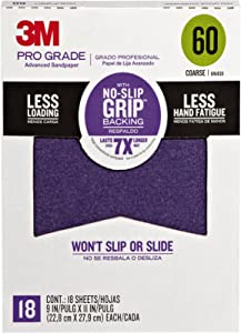 3M 26060CP-P-G Pro Grade No-Slip Grip Advanced Sandpaper, 9-Inch x 11-Inch, 60 Grit, Pack of 18