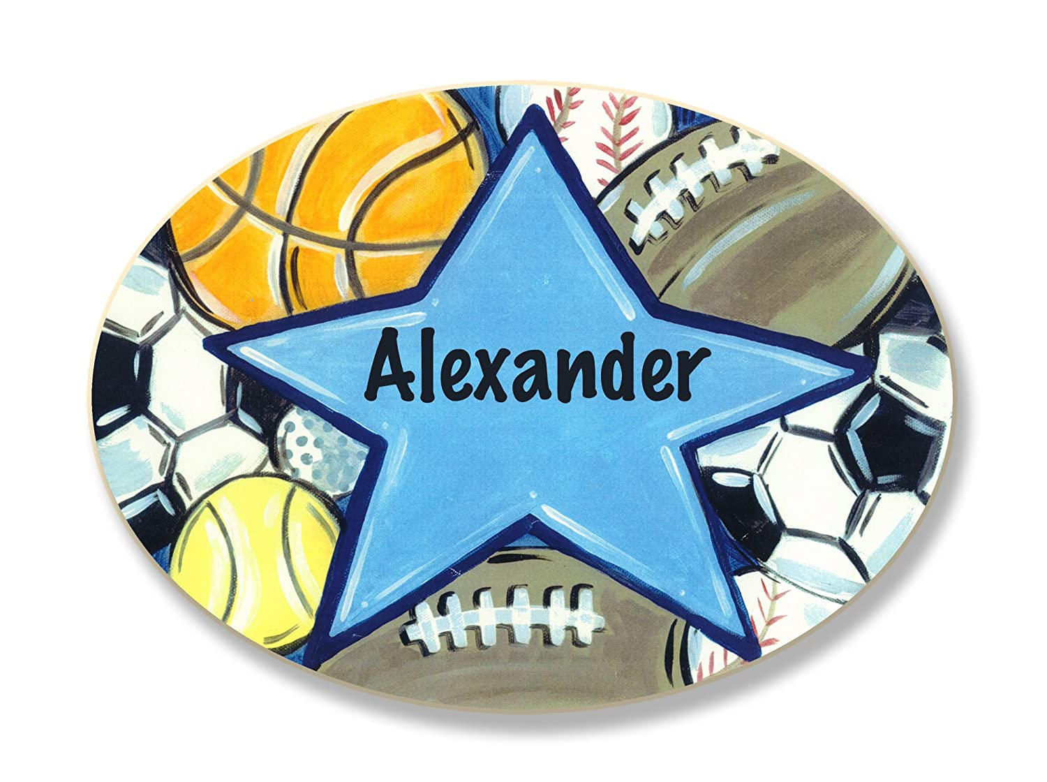 The Kids Room by Stupell Ethan All Star Sports Personalized Oval Wall Plaque pnp-552e