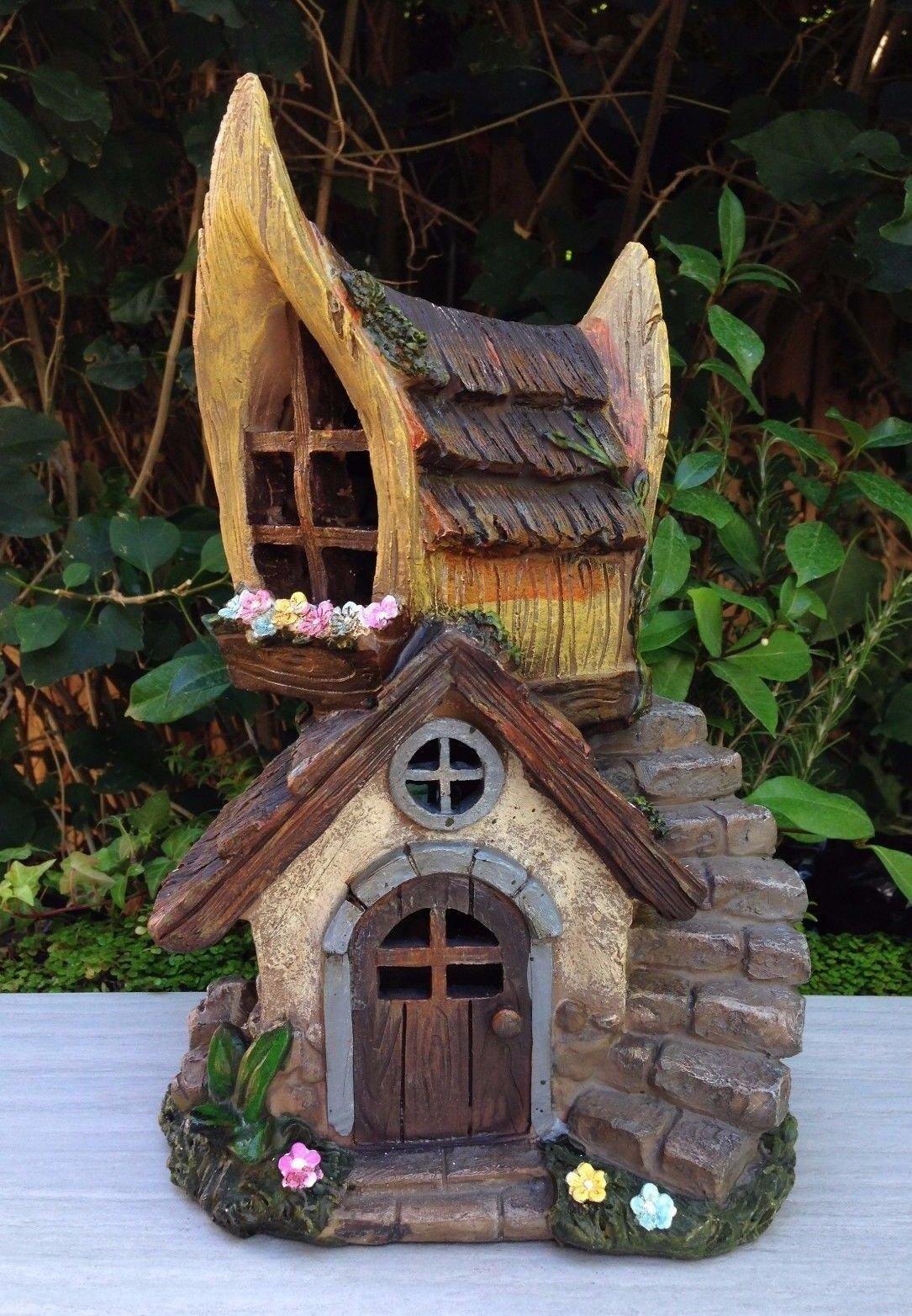 Miniature Dollhouse Fairy Garden Chalet House Solar Led Light