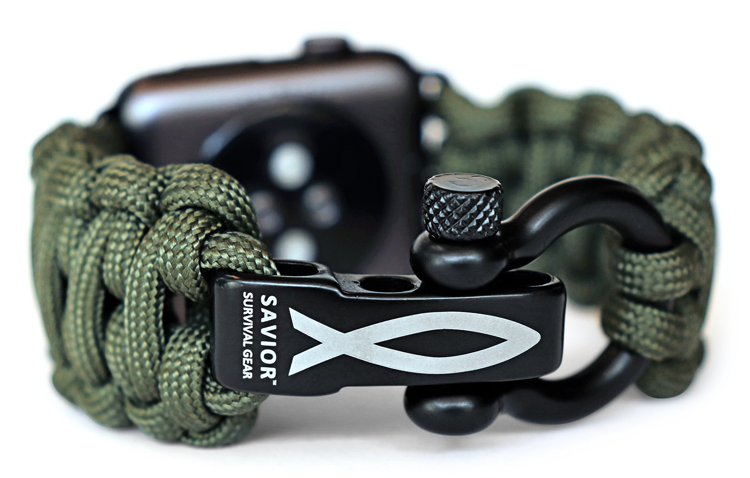 Savior Survival Gear Paracord Watch Band Compatible with Apple 42mm and 44mm Apple Watch - Paracord Watch Band with Stainless Steel Adjustable Shackle (550 Paracord, Green, Large) by Savior Survival Gear