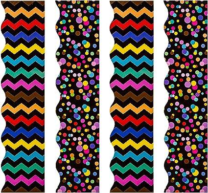 AIEX Boletín Fronteras Boletín de 80 pies de bordes pegatinas Decoraciones de tablones de anuncios para las fronteras de decoración de regreso a la escuela para pizarra negra, pizarra (2 estilos): Amazon.es: