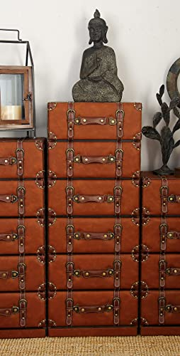 Deco 79 55773 Wood Leather 6 Drawer Dresser