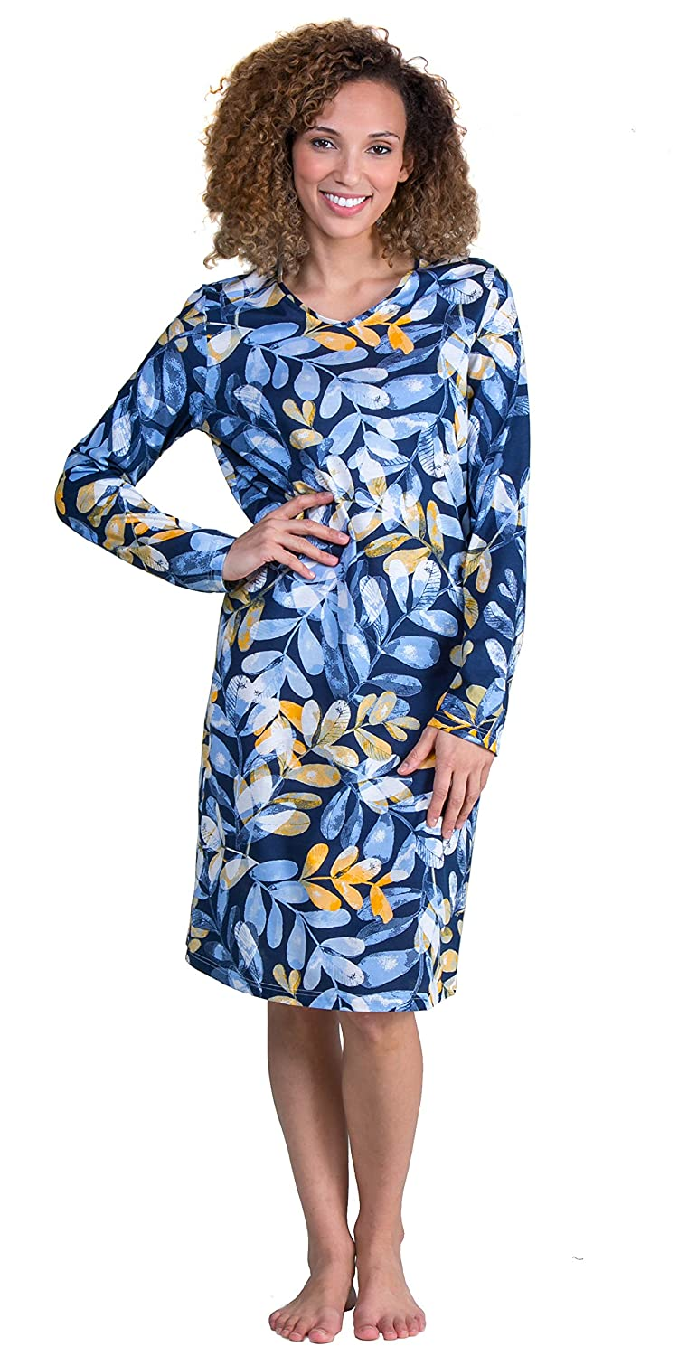 b55b29717409 Calida Long Sleeve Cotton Knit Short Nightgowns in Blue Fronds at Amazon  Women's Clothing store: