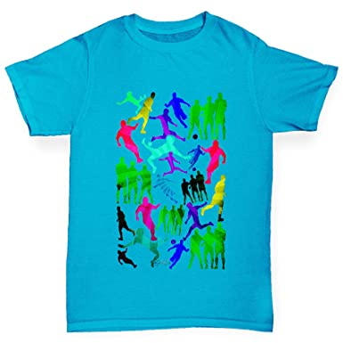 f23ce7206 TWISTED ENVY Boy's Rainbow Soccer Football Silhouettes 100% Funny Cotton  Azure Blue T-Shirt