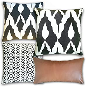 """Basik Nature Throw Pillow Covers 18x18. Decorative Throw Pillows Set of 4 Made of 100% Cotton Ethnic Pattern & Faux Leather Lumbar Pillowcase 9""""x18"""" for Couch/Bed Boho Modern Accent"""