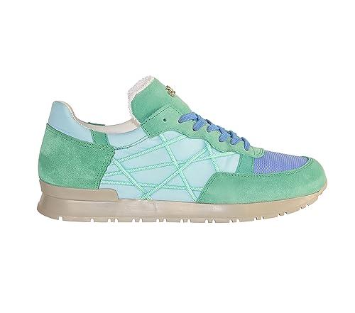 9bc59d22b30722 L4K3 Scarpe Sneakers Lake Unisex Mr Big Cube Nylon Camoscio Pelle Azzurro  Verde Acqua (35
