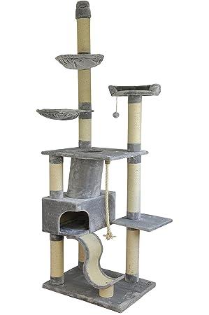 Nanook Kratzbaum Deckenhoch Grau Xl Katzenbaum Für Große Katzen Und Schwere Katzen Ragdoll Maine Coone Kratzturm Hoch Mit Stabilem Kratzstamm