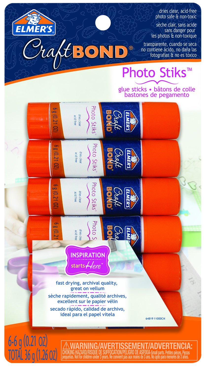 Elmer's CraftBond Photo Stiks Glue Sticks, 6-Count, 6g Each (E64819) Elmer' s