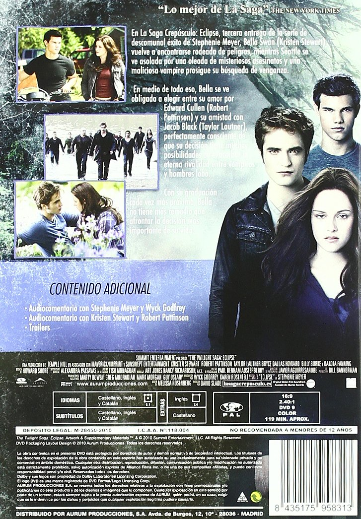 Trilogía Saga Crepúsculo (3 Discos) [DVD]: Amazon.es: Pattinson ...