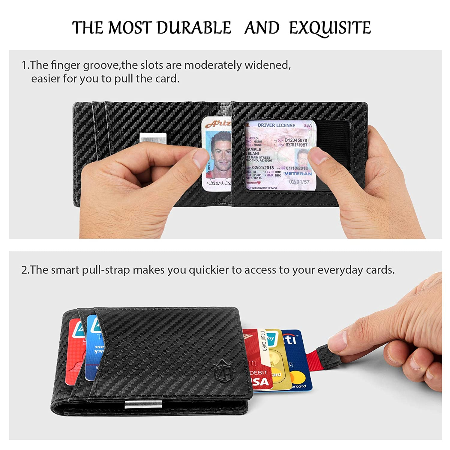 Money Clip Slim Wallet-Minimalist Bifold Front Pocket Wallet for Men,Card Holder Effective RFID Blocking