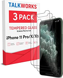 TalkWorks iPhone 11 Pro Screen Protector (Also Fits iPhone Xs, iPhone X) 3 Pack Tempered Glass Film Durable 0.33mm 9H Hardness, Case Compatible, Smudge, Scratch, Crack , Shatter Proof, HD Touch