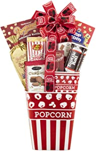 Movie Night Gift Basket- The Movie Night Popcorn & Candy Gift Basket by Wine Country Gift Baskets Filled with Goodies Reusable Nostalgic Popcorn Tub Small Tub For Sharing